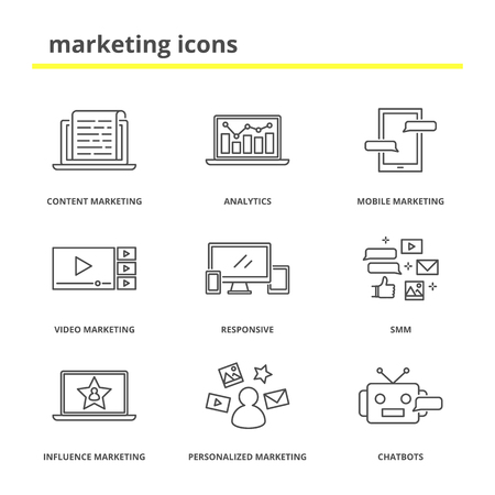 smm: Marketing icons set: content, mobile, video, influence and personalized marketing, analytics, responsive, SMM, chatbots.