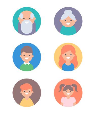 Set of vector avatars: children, adult, elderly Vektorové ilustrace