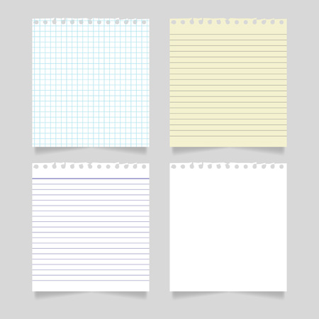 Blank realistic torn paper pieces, vector mockup Illustration