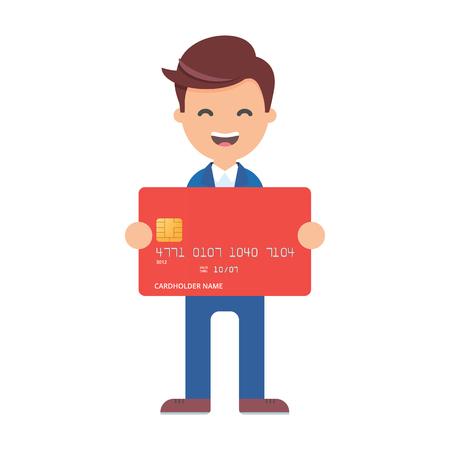 banco dinero: Vector illustration of businessman holding credit card