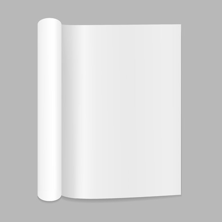 open magazine: Blank open magazine mockup with rolled page Illustration