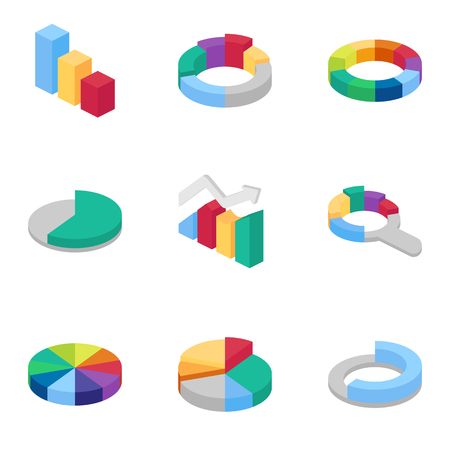 Charts and graphs isometric icons set
