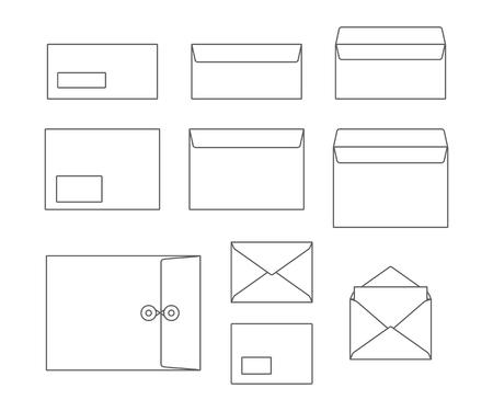 Outline set of envelopes