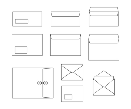 Outline set of envelopes