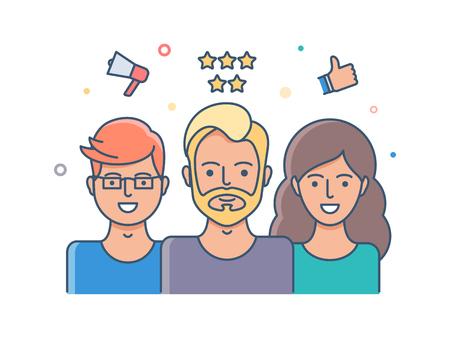 reviews: Social network, user reviews illustration
