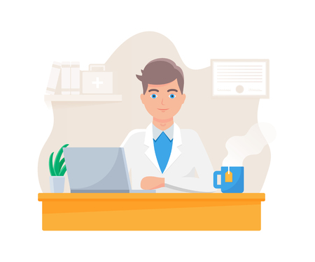 Vector illustration of a medical doctor sitting at the table  イラスト・ベクター素材