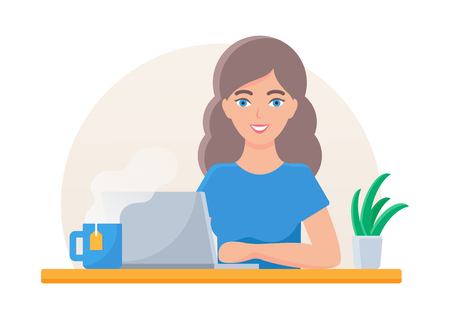 Vector illustration of a woman working on laptop