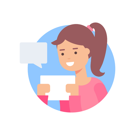 using tablet: Vector illustration of a girl chatting on tablet