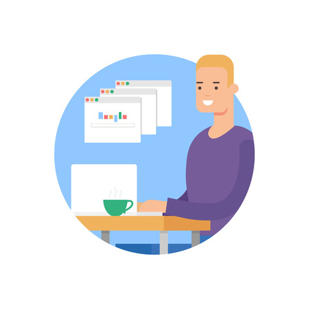 Vector Illustration of a man working on laptop