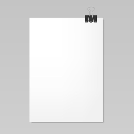 sheet metal: Blank white sheet of paper with clip, realistic mockup