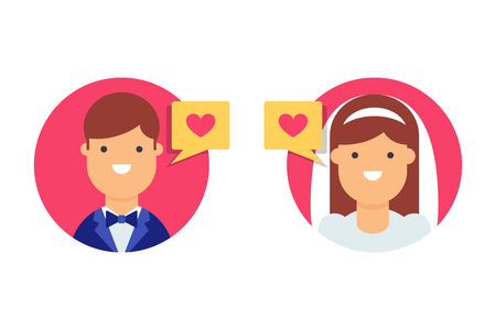 Groom and bride vector icon Illustration