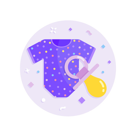 Baby clothes and pacifier vector icon Illustration
