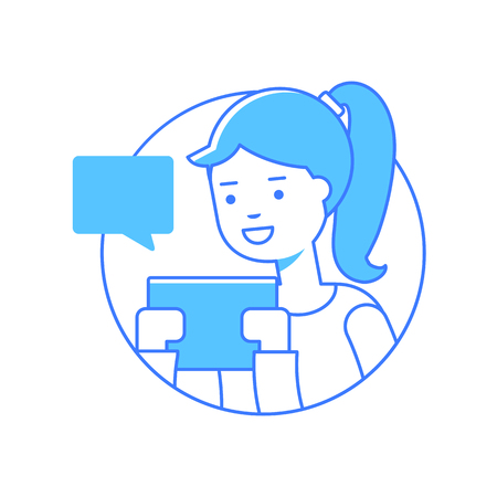 woman cellphone: Vector illustration of a girl using tablet