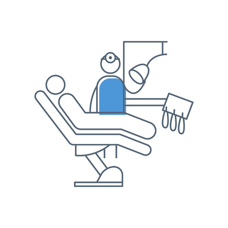 Dental office with dental chair, patient and dentist Illustration