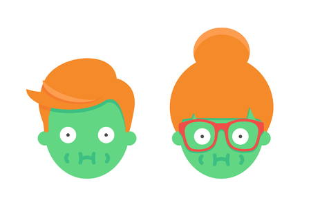 Sick emoji male and female character Illustration