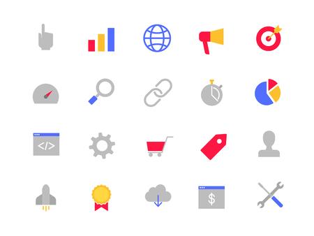 SEO color icons set