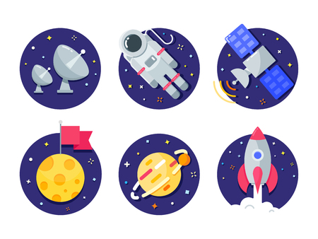 Space and Universe color vector icons Vector Illustration