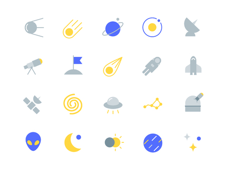 Space color icons set Illustration