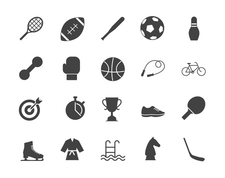 Sports black color silhouettes vector icons set Illustration