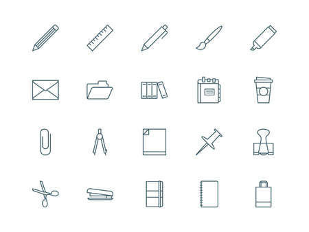 office stapler: Stationary and office set of vector icons linear style