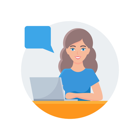 Vector illustration of a woman working on a laptop with speech bubble Illustration
