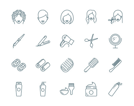 Haircut, hairdressing vector icons set