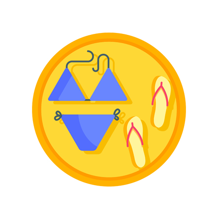Bikini and flip flops vector icon Illustration
