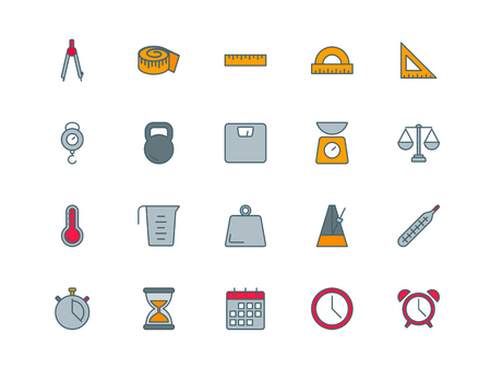 Measuring tools set of thin line flat icons