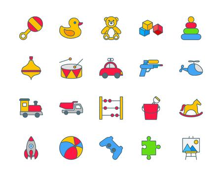 psp: Toys set of thin line flat icons