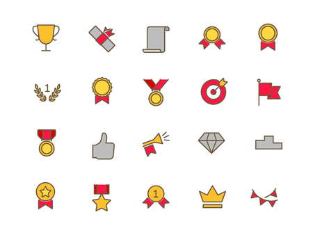silver coins: Awards set of thin line flat icons