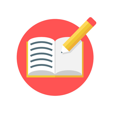note pad: Open notebook with pencil vector icon