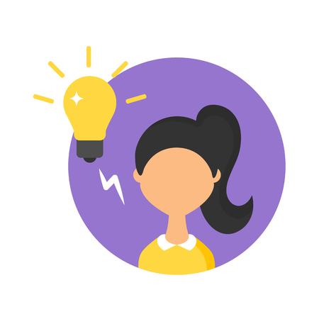 smart girl: Vector illustration of a woman have an idea