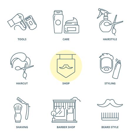 barbershop: Barber linear vector icons set
