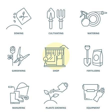 Gardening linear vector icons set