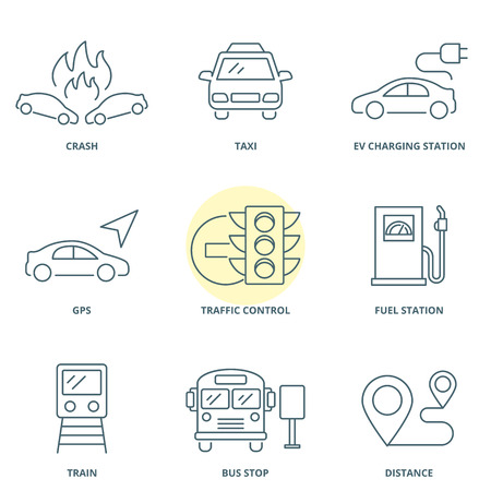 Road traffic linear vector icons set