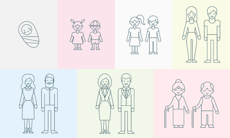 People of different ages vector illustration for infographic