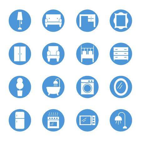 kitchen cabinets: Furniture circular icons set
