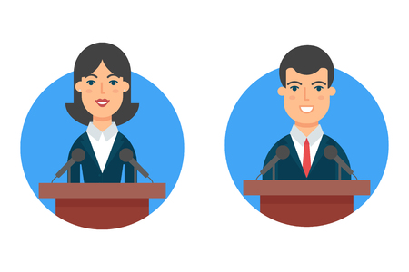 Politicians, female and male vector character Illustration