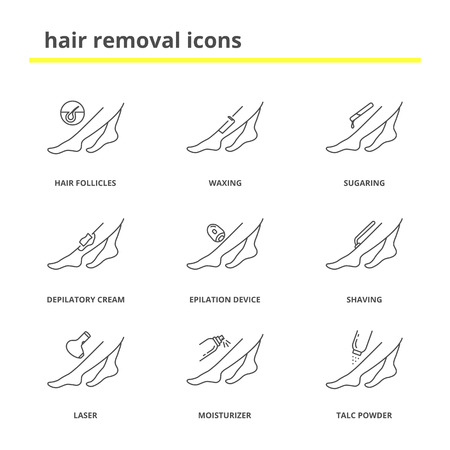 Hair removal icons set: shaving, waxing, sugaring, depilatory cream, laser epilation