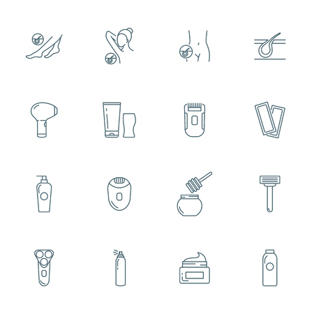 Epilation vector icons set Stock Illustratie