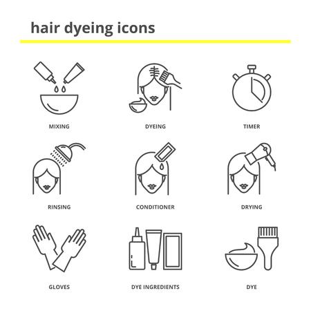 Hair dyeing icons set