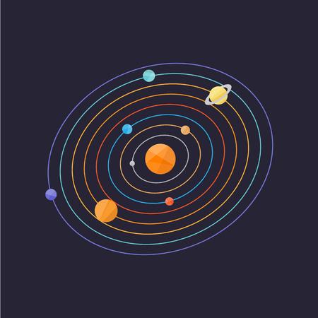 Solar system simple vector illustration Illustration