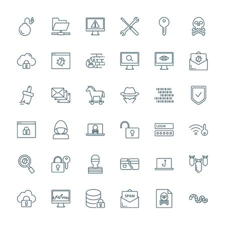 Computer viruses, cyber attack, hacking set of vector icons.