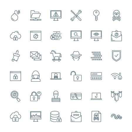 Wirusy komputerowe, cyberatak, hakowanie zestaw ikon wektorowych.