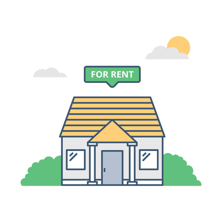 Vector illustration of a house with for rent sign.