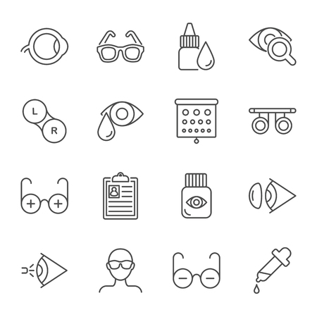 Ophthalmology vector icons set Stock Illustratie