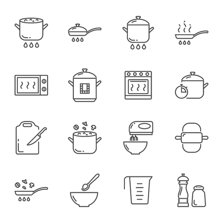 Cooking vector icons set