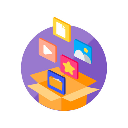 Vector illustration of a box with digital files, storage concept