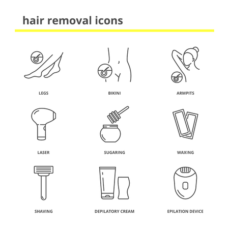 Hair removal icons: Legs, bikini, armpits, laser, sugaring, waxing,shaving, depilatory cream, epilation device