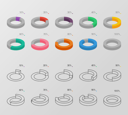 Set of outline and flat style isometric circle charts